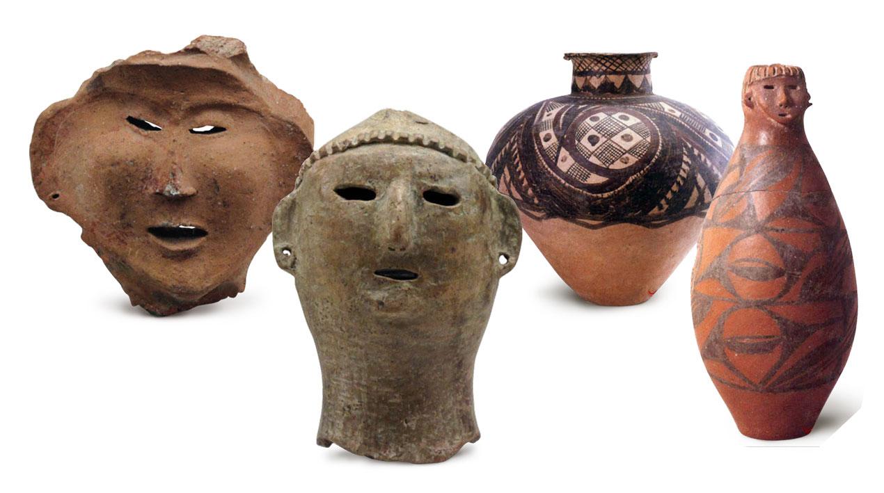 Piezas de las culturas Dadiwan, Majiaoyao y Qijia.