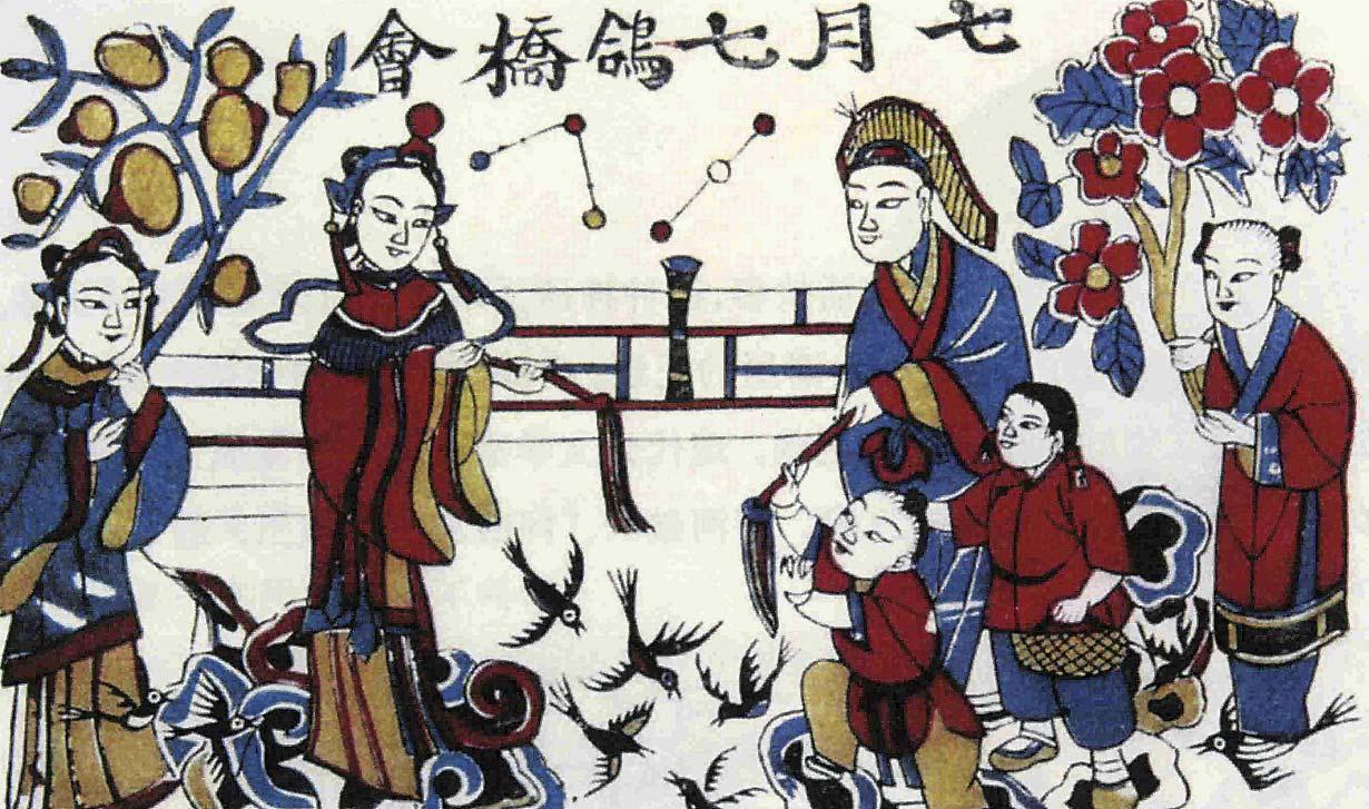 Pintura representando el cuento amoroso de Niu Lang y Zhi Nü. Foto: CFP