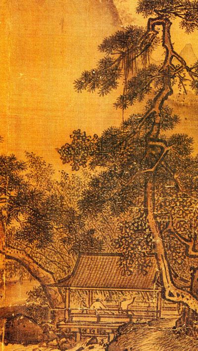"""Siglo XII, """"Contemplando una cascada"""" (detalle), Li Tang."""