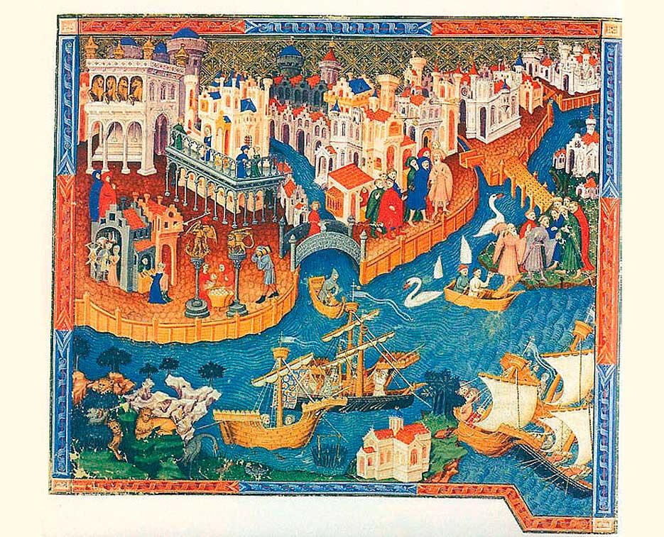Detalle del libro Los viajes de Marco Polo donde se muestra su partida desde Venecia.