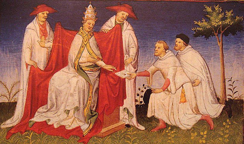 Ilustración donde se representa a Nicolás y Mateo Polo, padre y tío de Marco Polo, entregándole una carta de Kublai Khan al papa Gregorio X en el año 1271.