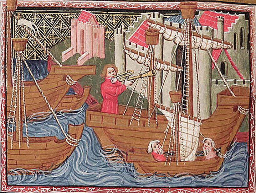 Pintura medieval donde se puede ver a Marco Polo durante uno de sus viajes.
