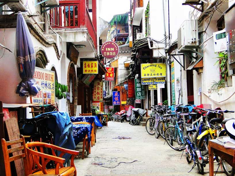 Comercios de la ciudad de Yangshuo.
