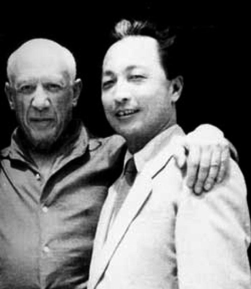 El diseñador Zhang Ding  en la única visita que le hizo a Picasso.