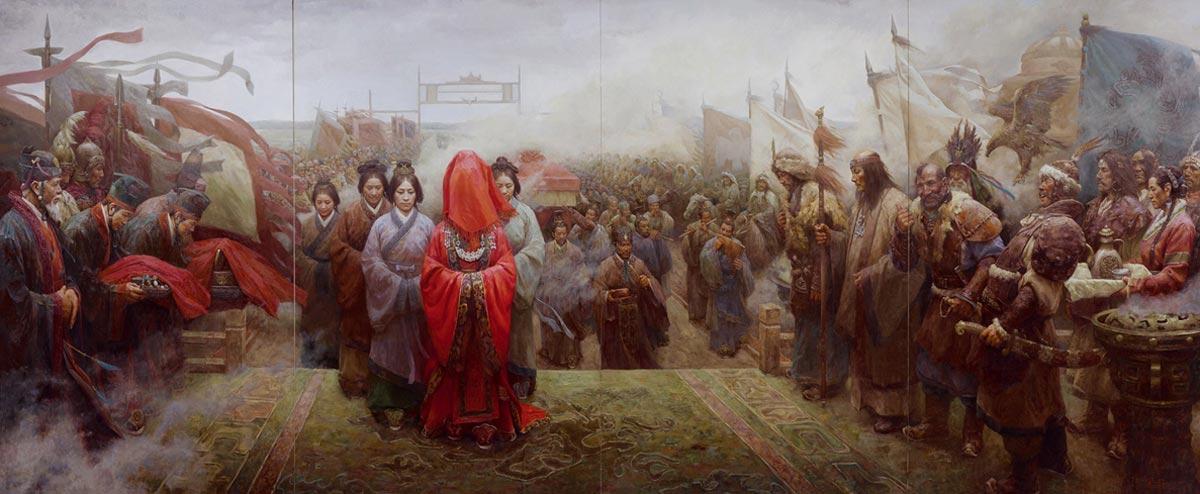 """Wang Zhaojun. 张国强油画创作《和亲》 Pintura al óleo """"Parentesco armonioso"""", obra de Zhang Guoqiang"""