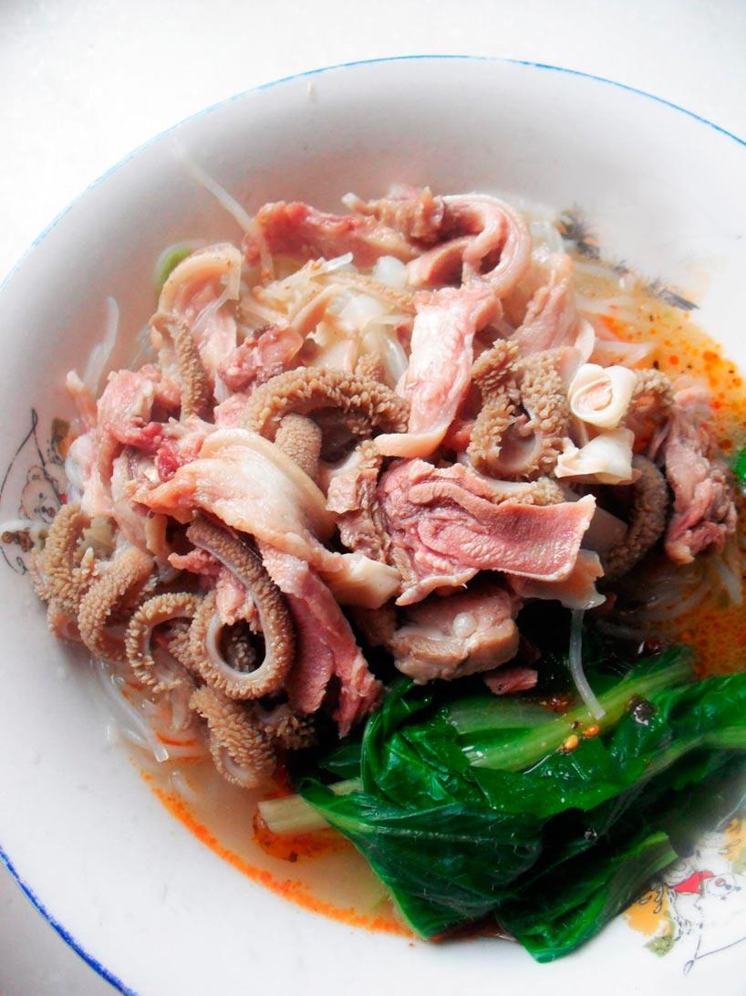 El cordero en la cocina china. Tripas de cordero