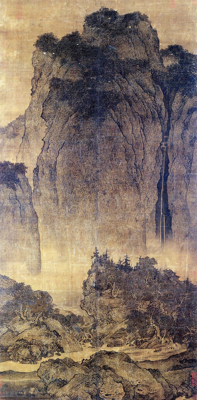 """vitalidad pintura china - """"Viajeros a través  de montañas y valles"""" de Fan Kuan"""