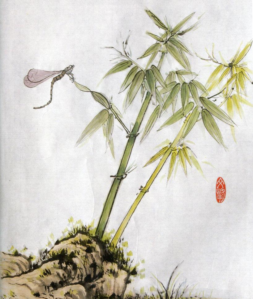 """vitalidad pintura china - """"Bambú, roca y libélula"""" de Walter Chen"""