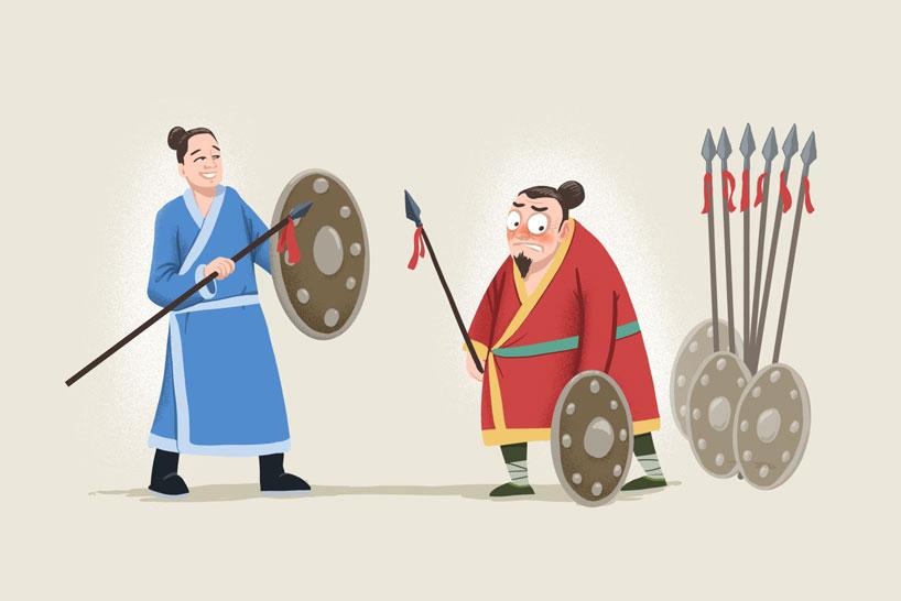 Utilizar la lanza más aguda para atacar el escudo más resistente (zì xiāng máo dùn)