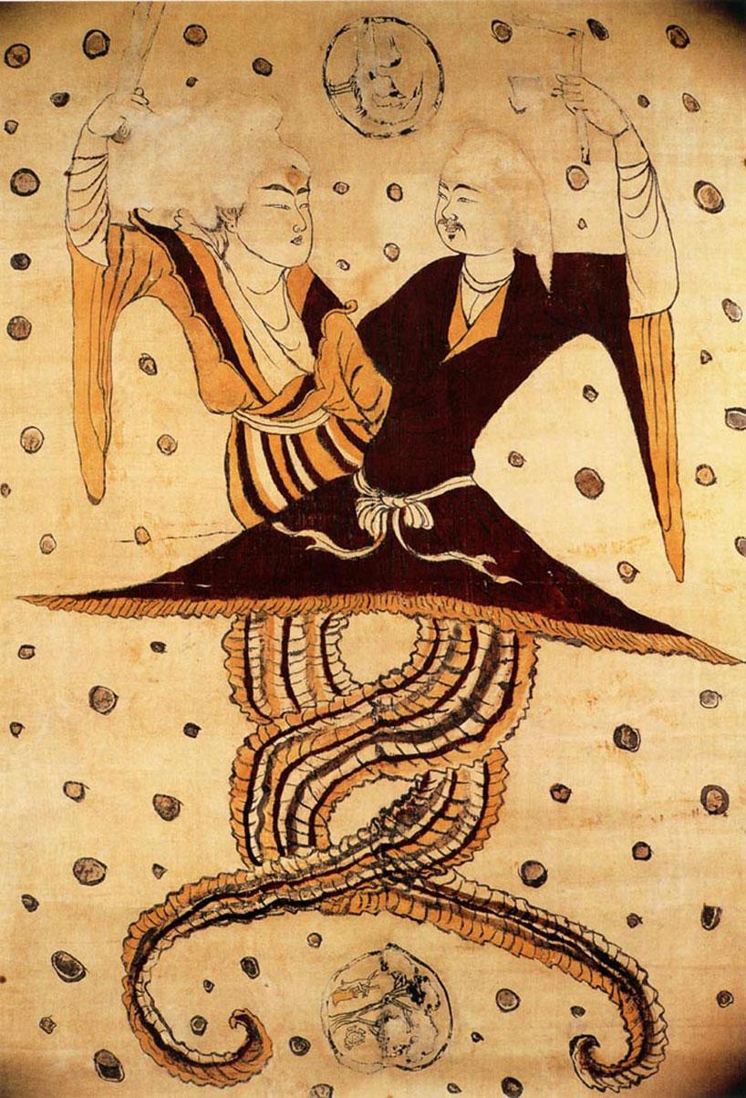 Imagen antigua del dios Fuxi y la diosa Nüwa, los primeros ancestros del pueblo chino cuya fusión posterior dio lugar a la figura del dragón.