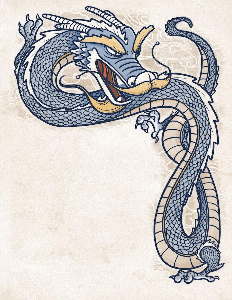 Dragón Azul Cuatro bestias cosmología china