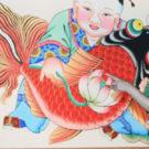 La imagen típica de las pinturas de Yangliuqing consiste en un niño gordinflón con una carpa en sus brazos.