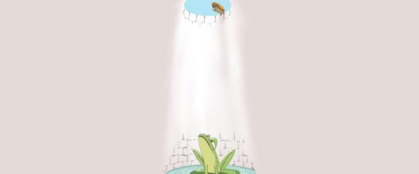 """Contemplar el cielo desde el fondo de un pozo (坐井观天, """"Zuò jǐng guān tiān""""). Ilustración de Xavier Sepúlveda."""