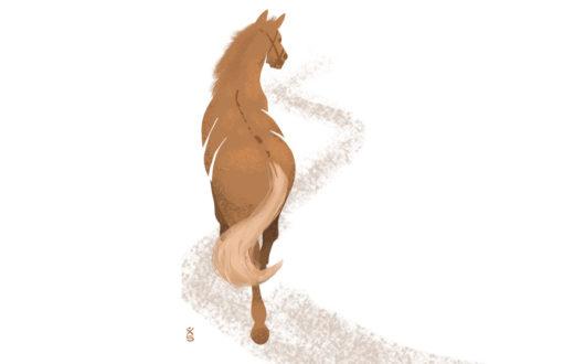 """""""El caballo viejo conoce el camino"""" (老马识途, 'Lăomă shí tú'). Ilustración de Xavier Sepúlveda."""